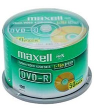 Maxell DVD-R Discs, 4.7GB, 16x, Spindle,50/Pack
